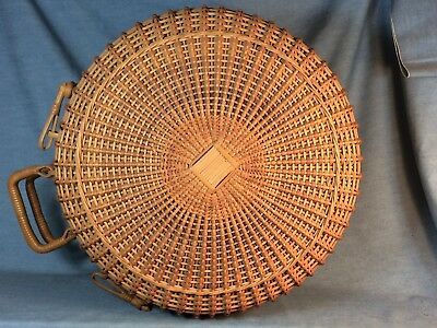 NICE OLD LARGE VINTAGE WICKER HAT BOX GREAT CONDITION 16 INCH ACROSS x 9.5 DEEP