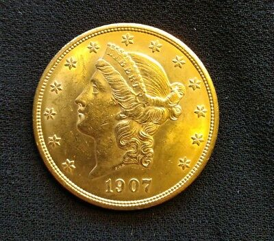 1907 United States $20 Liberty Head Double Eagle Gold Coin