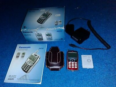 Panasonic EB-A102 Mini Cell Phone With Battery, Charger, Case, Adapter, Booklet
