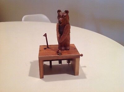 Wood Carving BEAR Toy GOLFER Mechanical Hand Operated COOL