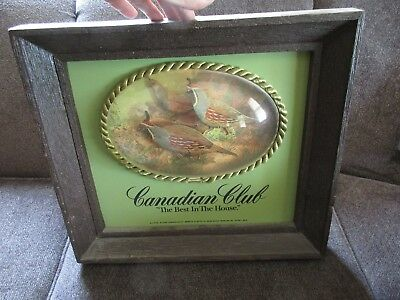 Vintage Canadian Club Whiskey Wildlife Quail 3-D Bubble Bar Sign