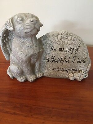 Pet Memorial Dog Grave Marker Stone Statue Plaque Sympathy Pet Loss In Memory