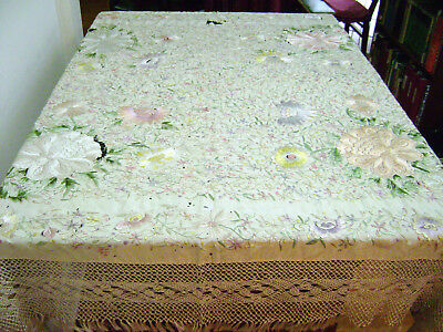 VINTAGE ANTIQUE IVORY SILK EMBROIDERED SHAWL 42x45 PIANO SHAWL AS IS