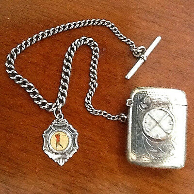 RARE--Antique golf vesta case with chain and golf fob. Silver plate, early 1900
