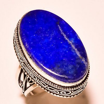 "Blue Lapis Lazuli Gemstone Vintage Style .925 Sterling Silver Ring ""9.50"""