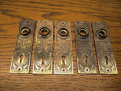 5 Old Brass ? Bronze ? Door Plates ...escutcheons...backplates...ornate Detail