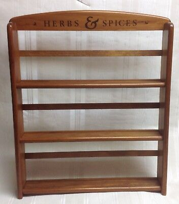 Vintage Wooden 3 Tiered Spice Rack/Holder, Wall Mount, Holds 24