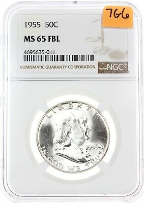 1955-P Franklin Half Dollar 50C MS65 FBL Full Bell Lines NGC Silver Coin 7G6