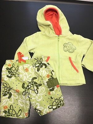 Absorba Baby 6-9 Months Turtle Swim Suit Trunks And Green Cover Up Top