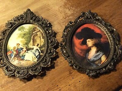 VINTAGE 2 Small ORNATE BRASS FRAMED PRINTS/PICTURE FRAME! MADE IN ITALY 5.25""
