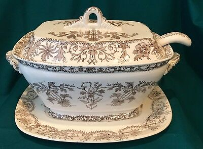 """Aesthetic Transferware Tureen, Under Plate and Ladle - """"Lahore"""" Brown & White"""