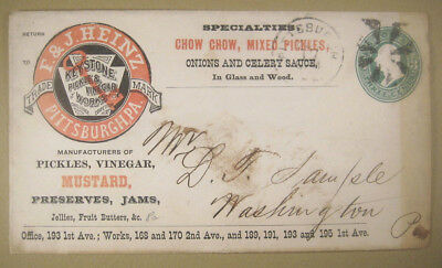 1890+/- F & J Heinz Pittsburgh Pa, Adv. 3 Ct.Cover Envelope,Color Logo Chow Chow