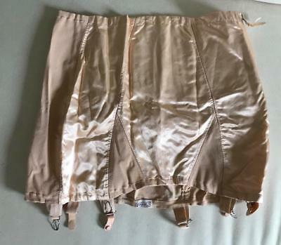 """Gloryous Girdle Styled by Weil 1940's Peachy Pink 40"""" Open Bottom, Boned, Garter"""