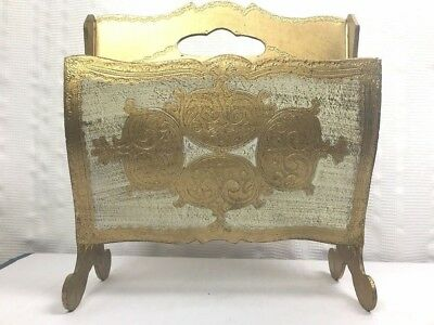 Vintage Italian Florentine Gilt  Magazine Rack Holder 14.5'X 13.5'Made in Italy