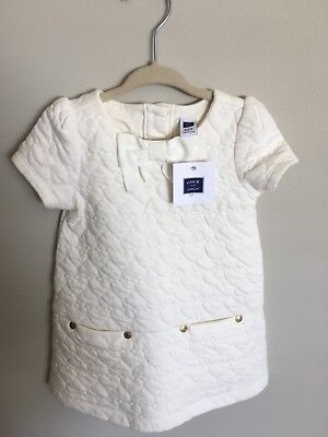 NWT Girl Janie And Jack Ivory Quilted Short Sleeve Dress W/Bloomers Size 6-12M