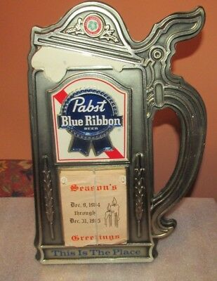 Vintage Pabst Blue Ribbon 1985 Calendar Stein Sign (VERY COOL)