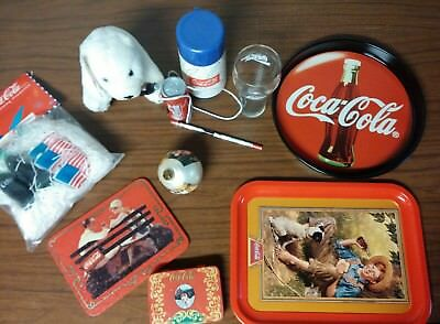 Large Lot Coca Cola Some Vintage Cards ornament thermos glass bear