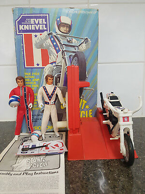 Ideal 1975 Evel Knievel Stunt Cycle Set (Complete) Original Box And Instructions