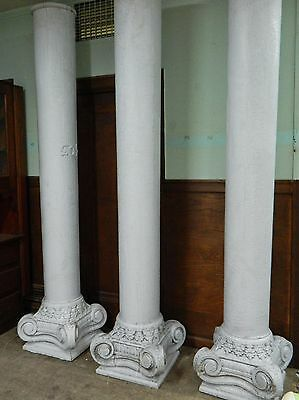 Large Antique Victorian Porch Column, Carved Wood Capitals Architectural Salvage