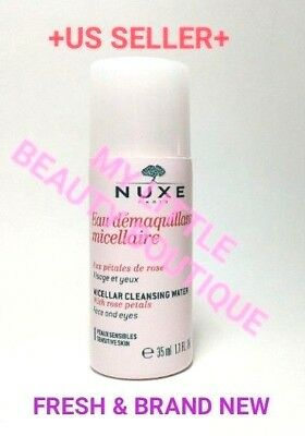NUXE MICELLAR CLEANSING WATER w ROSE PETALS Face & Eyes 35ml / 1.1 fl.oz. NEW