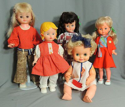 "Vintage Dolls Lot Canada Reliable Regal Dee&cee Plastic Vinyl 14"" - 17"" 1960 -70"