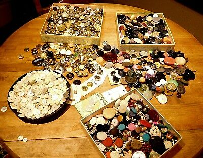 HUGE Vintage and Modern BUTTON Lot MetaL, Plastics, Fabric SETS PAIRS  7.5 lbs!