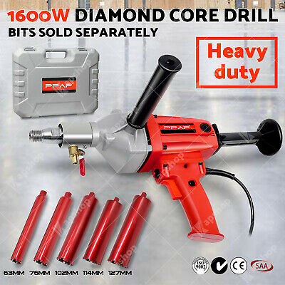 AU 1600W Diamond Core Drill Concrete Wet Drilling Drill Bits 1 1/4 UNC Thread