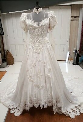 vintage wedding dress 1980s, buy for lace or dress, size 10