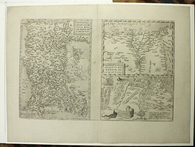1579 ORIGINAL Ortelius Map Turkey Cyprus Egypt Tunis Nile Delta Copper Engraving