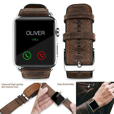 PASBUY 75B Genuine Leather Strap Band for Apple Watch Series 3 2 1 38mm Brown