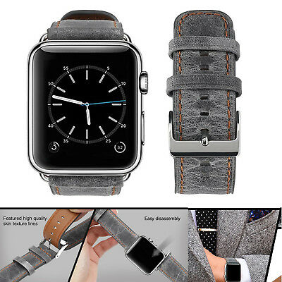PASBUY 75B Genuine Leather Strap Band for Apple Watch Series 3 2 1 42mm Gray