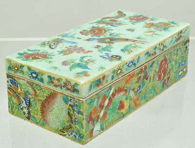Antique Chinese Export Enameled Celadon Porcelain Covered Pen Box 19th Century