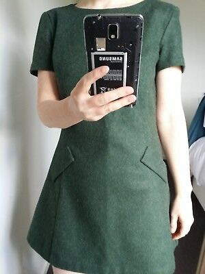 Dot and Herbey forest green 100% wool dress size 10