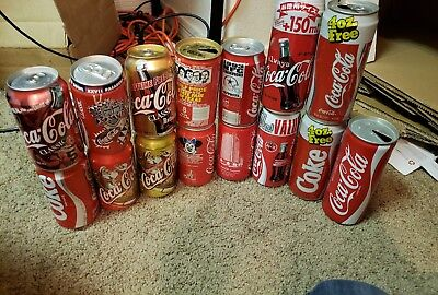 Lot of 15 rare Vintage Empty Coca-Cola Cans coke foreign  Europe super bowl