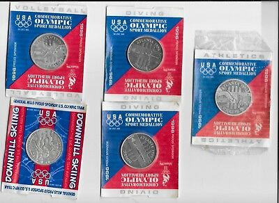 1996 1998 General Mills 5 USA OLYMPIC SPORT MEDALLIONS Skiing Volleyball Diving