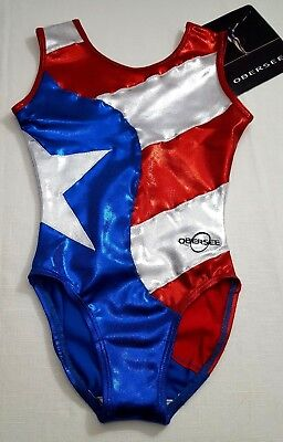 NWT Obersee Gymnastics Leotard / Red, White, & Blue / Flag/ Size Large
