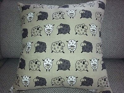 "Linen blend Handmade Cushion Cover ,Happy Sheep,16"" x 16"",invisible zipper"