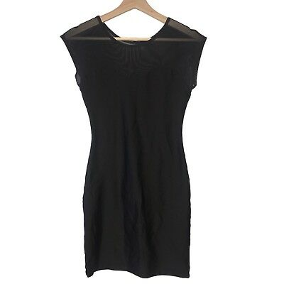 American Apparel Dress M/L Black Mesh Sweetheart Bodycon Stretch Cocktail Party