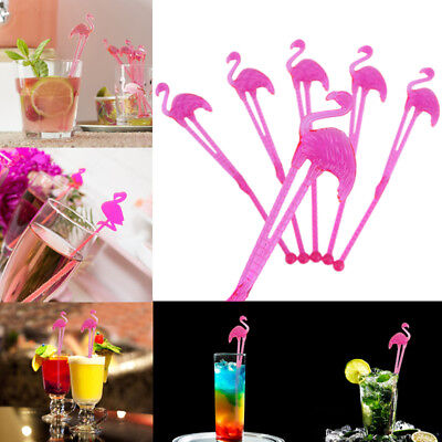 10Pcs Flamingo Sticks Hawaii Swizzle Cocktail Stir Bar Dinning Drink Stirrers