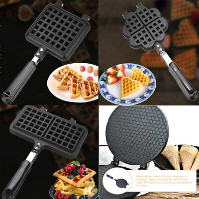 Nonstick Waffle Cone Maker Bubble Egg Roll Baking Mold Pan Plate Kitchen Tool JS