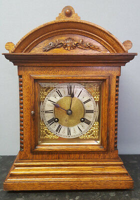 Vintage Oak Schmeckenbecher 8 Day Bracket Clock with Ting Tang Strike