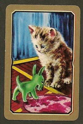Vintage  Coles Swap Card Un-Named Cat Kitten With Toy