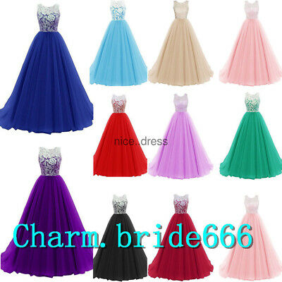 AU Tulle Chiffon Formal Wedding Evening Party Gown Prom Bridesmaid Dress 6-18+++