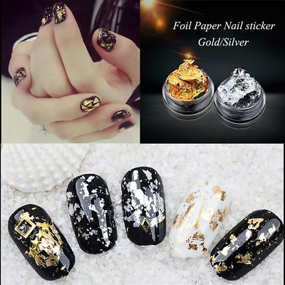 Beauty 12pcs Set Nail Art Gold Silver Metallic foil paper Flake 3D Sticker Decal