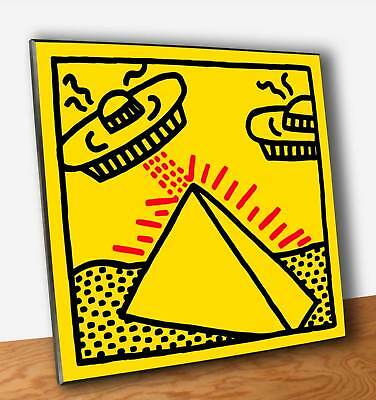 Quadro Pannello mdf Keith Haring Pyramid with UFOs Stampa su Legno (OUTLET)