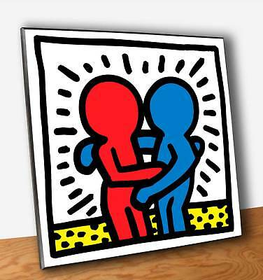 Quadro Pannello mdf Keith HARING Pop Shop Friends Stampa su Legno (OUTLET)