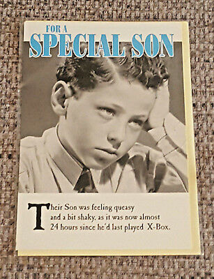 Special Son Birthday Greeting Card Vintage Black White Large