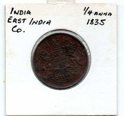 India- East India Co.  1835 1/4 Anna coin in VG