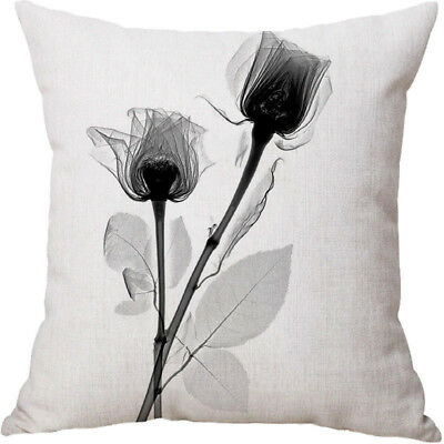 "18"" Pillowcase Printed Flowers Cotton Linen Pillow Case Sofa Cushion Covers"