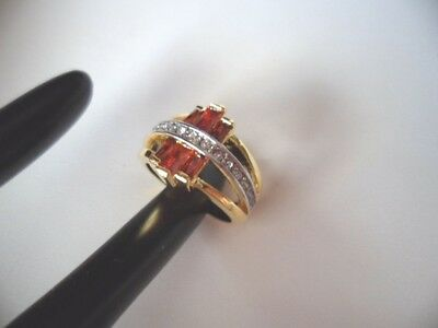 ANTIQUE ART DECO VINTAGE GOLD RING RUBY RED SAPPHIRE WHITE STONES SIZE 9 or S